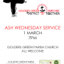 Ash Wednesday 1 March 9am and 7pm
